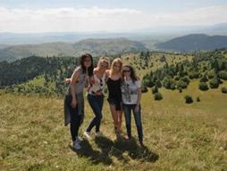 Projects Abroad teenage volunteers on a High School Special in Romania enjoy a hike.