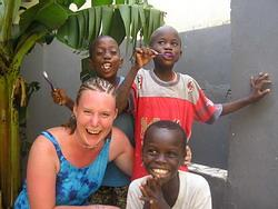 Volunteer with Senegalese children