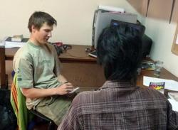 Volunteer conducting an interview