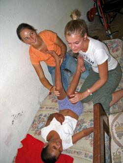 Physiotherapy volunteers at a placement