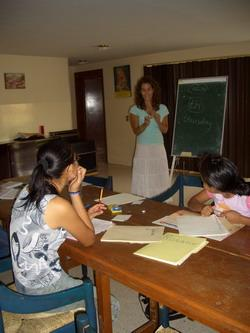 Volunteer teaching English at a placement
