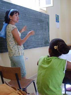 Teaching English in a school in Morocco
