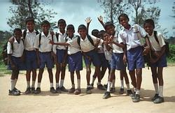 Students at a school in Sri Lanka